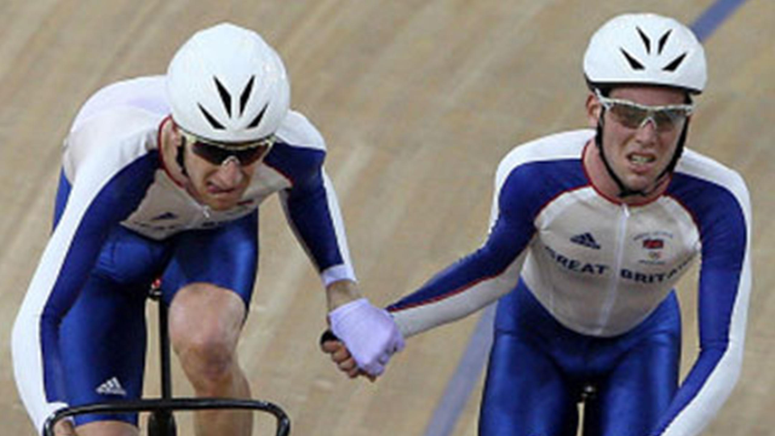 Great Britain's Bradley Wiggins (left) and Mark Cavendish during the Men's Madison at the Laoshan Velodrome