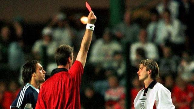 1998 England-Argentina David Beckham is sent off