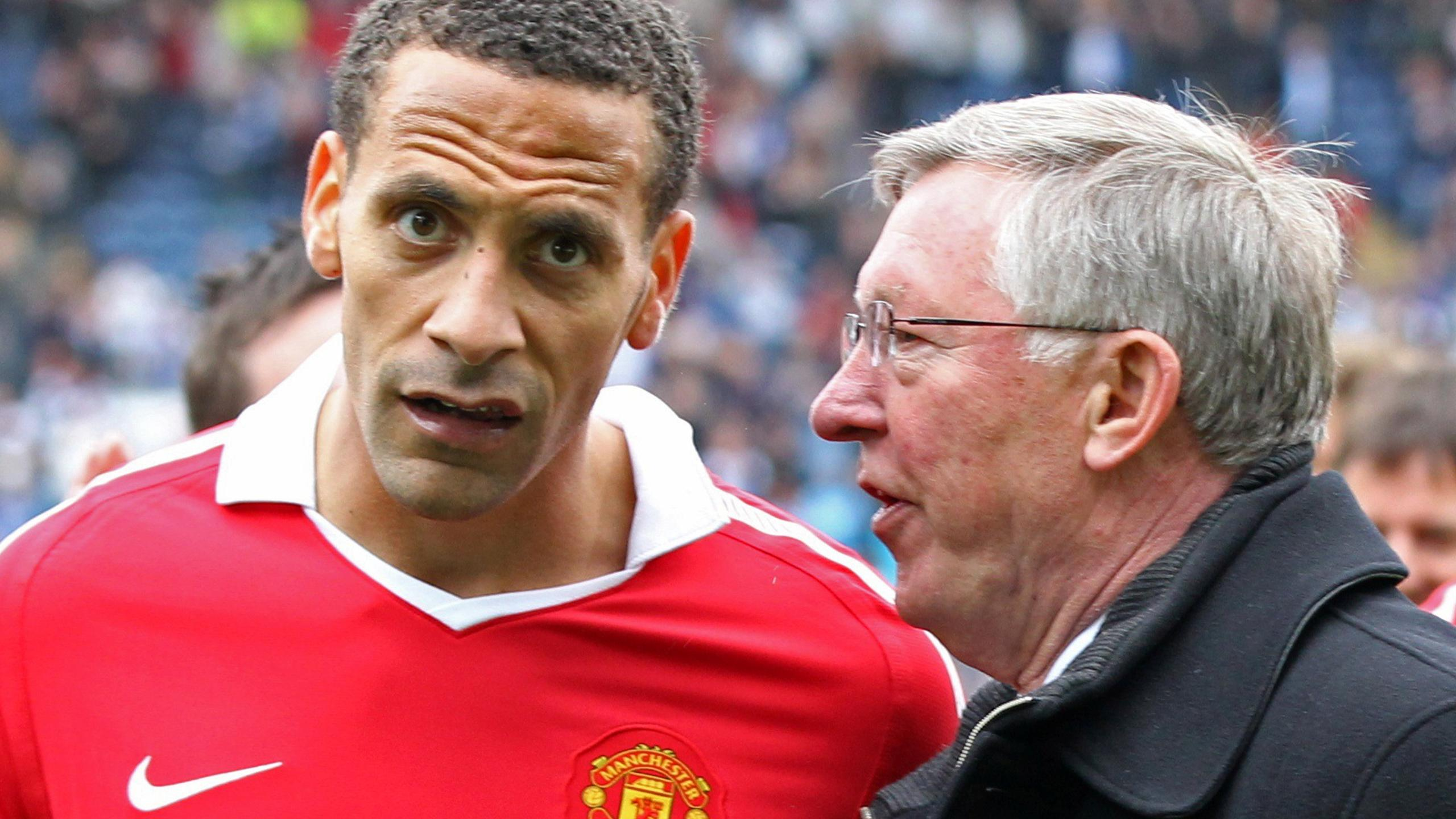 Sir Alex Ferguson and Rio Ferdinand while at Manchester United