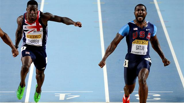 Gatlin wins gold; WR for Eaton