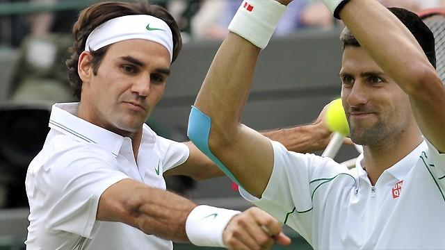 Djokovic, Federer in actio - Tennis - Wimbledon