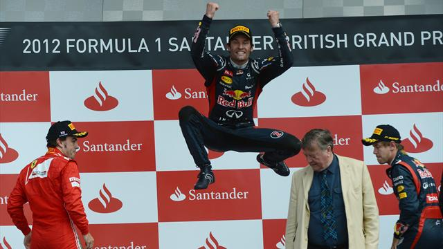 Webber jumps Alonso to win British GP