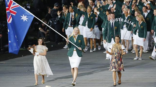 Female flagbearer Jackson leads out Australia