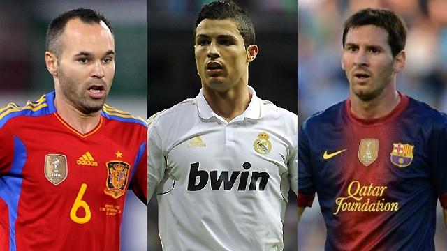Iniesta, Ronaldo and Messi on Ballon d'Or shortlist - Football - Liga