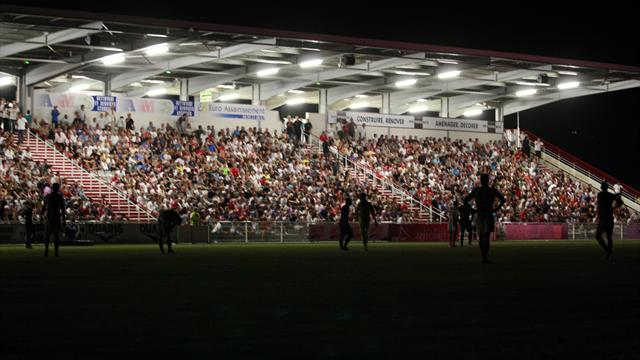 Flood lights shut down at the 93rd minute of the French L1 football match Ajaccio (ACA) vs Paris Saint-Germain (PSG), 2 minutes prior the end of the match, in the Francois Coty stadium in Ajaccio, French mediterranean island of Corsica, on August 19, 2012