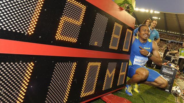 Merritt breaks 110m hurdles WR, Bolt and Blake win