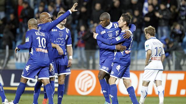 Bastia celebrate the winning goal against Auxerre in the Coupe de Ligue