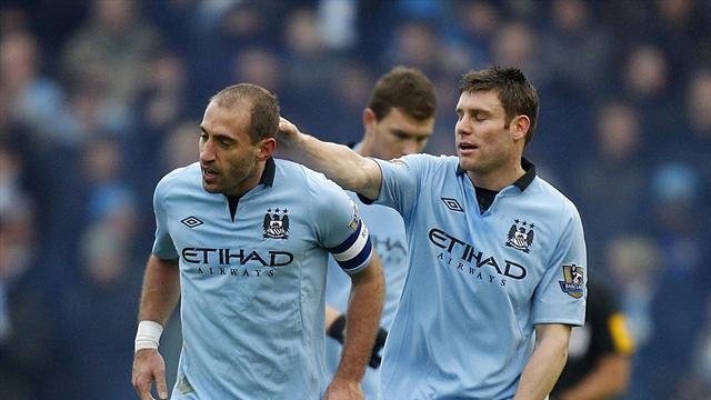 Pablo Zabaleta, left, scored the only goal for Manchester City