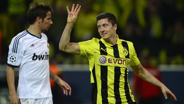 Lewandowski smashes four as Dortmund rout Madrid