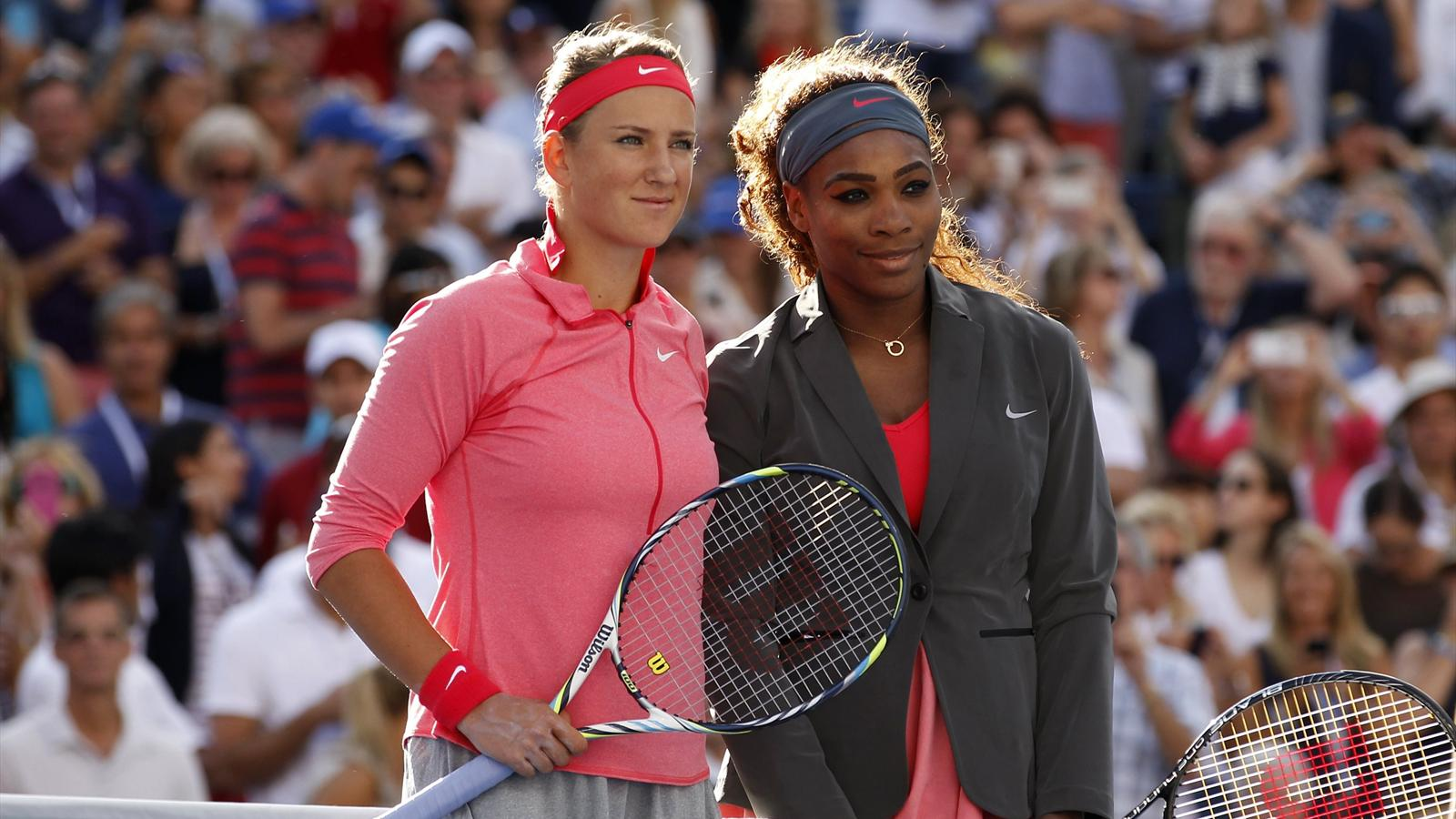 Serena Williams of the U.S. (R) and Victoria Azarenka of Belarus pose ahead of their women's singles final match at the U.S. Open (Reuters)