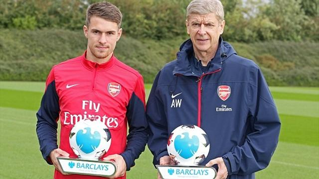 Arsenals Aaron Ramsey and Arsene Wenger win Barclays Player and Manager of the Month awards