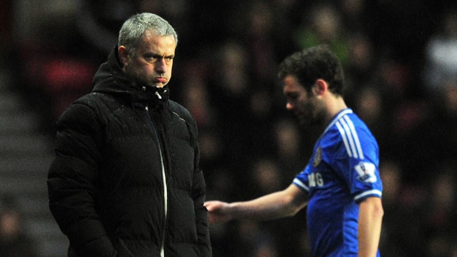 Chelsea manager Jose Mourinho watches after Juan Mata was substituted during the Premier League match at Southampton (AFP)