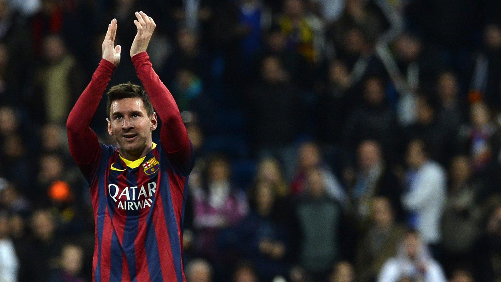 Barcelona s argentinian forward lionel messi applauds at the end of