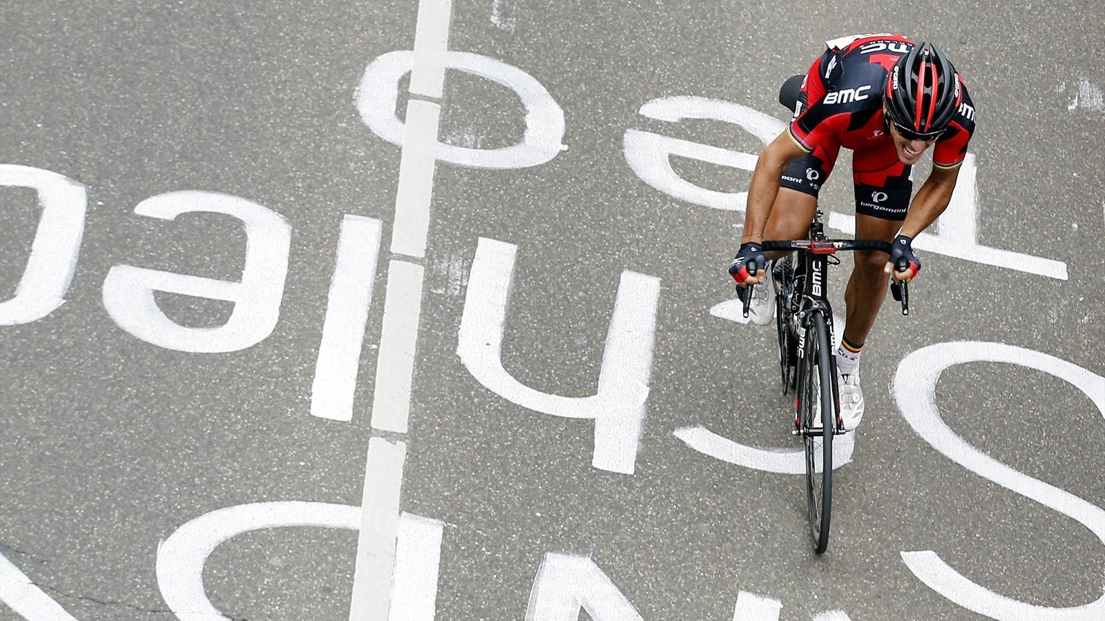 Philippe Gilbert (BMC) attacks on the Cauberg on 2014 Amstel Gold Race