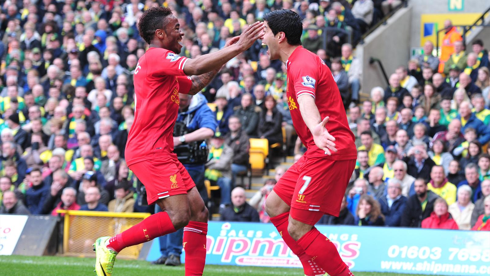 Raheem Sterling and Luis Suarez, Norwich - Liverpool 2014