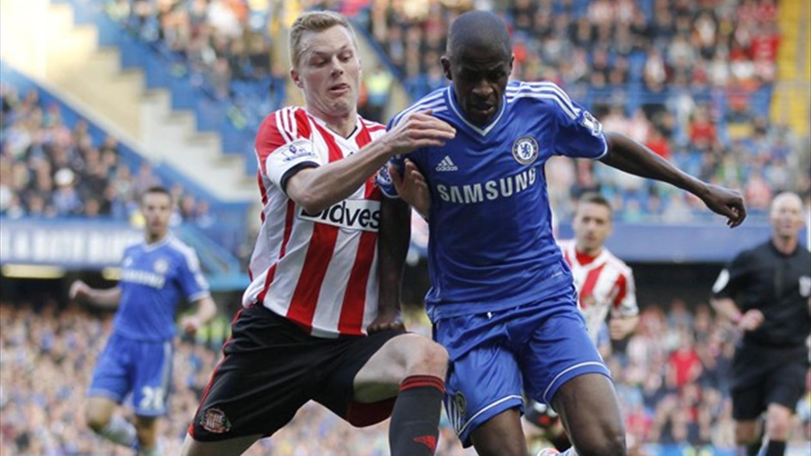 Chelsea's Ramires (right) was banned for four matches after accepting an FA charge for violent conduct against Sunderland's Sebastian Larsson (left) (AFP)