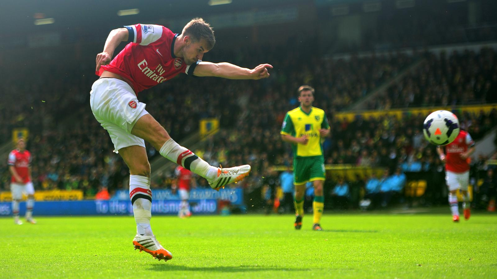 Aaron Ramsey's excellent volley for Arsenal against Norwich (AFP)
