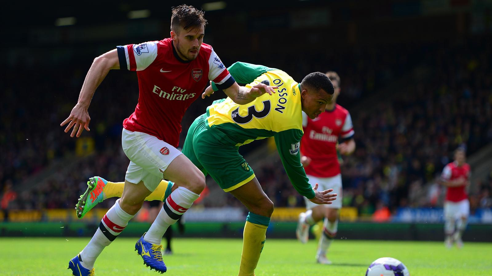 Carl Jenkinson and Jonas Olsson Arsenal v Norwich (Getty)