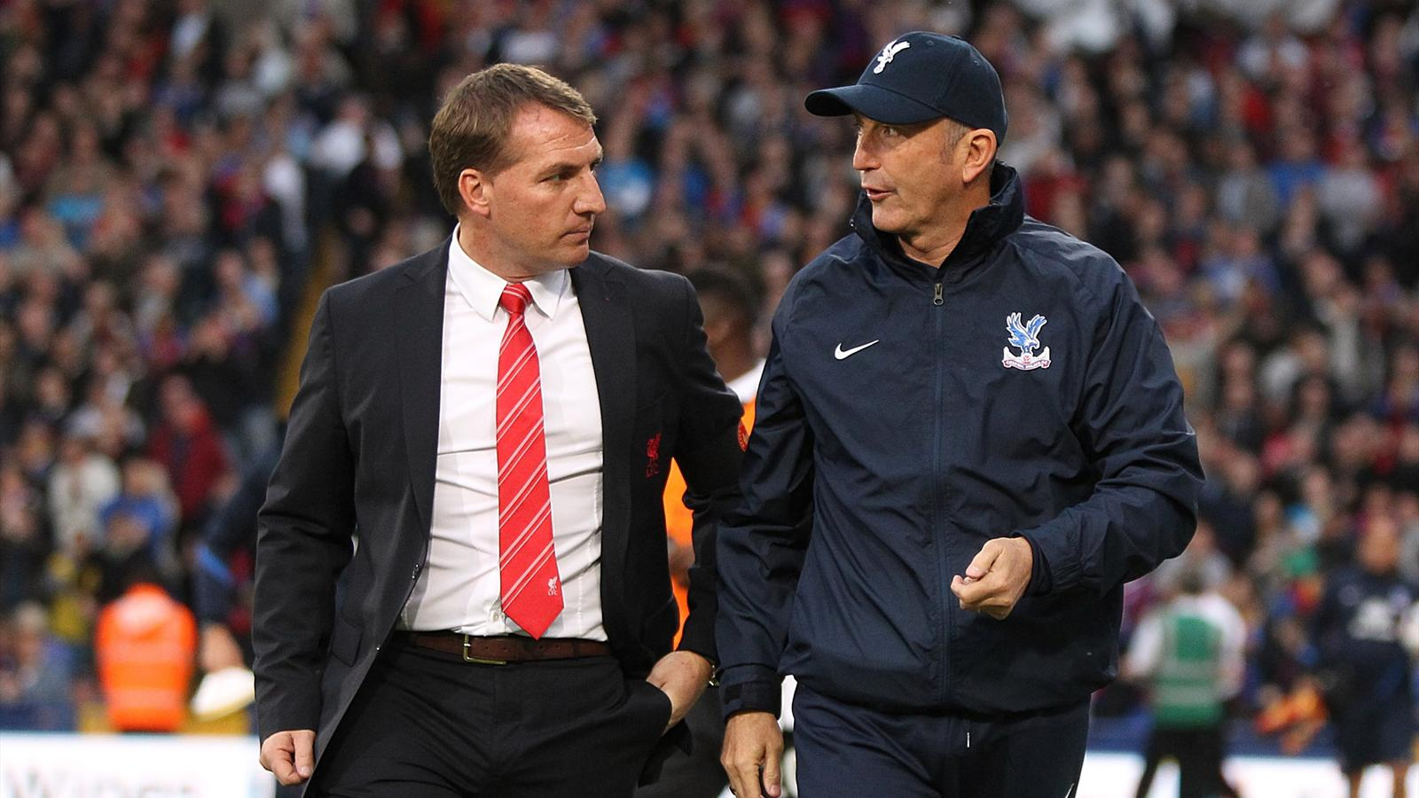 Liverpool manager Brendan Rodgers (left) with Crystal Palace manager Tony Pulis before kick-off (PA Photos)