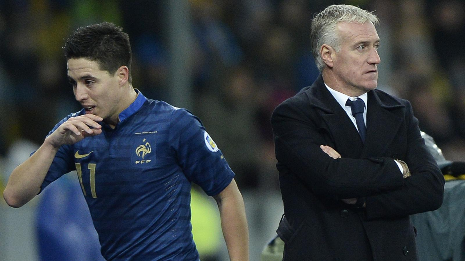 Samir Nasri and Didier Deschamps, Ukraine - France, 2014