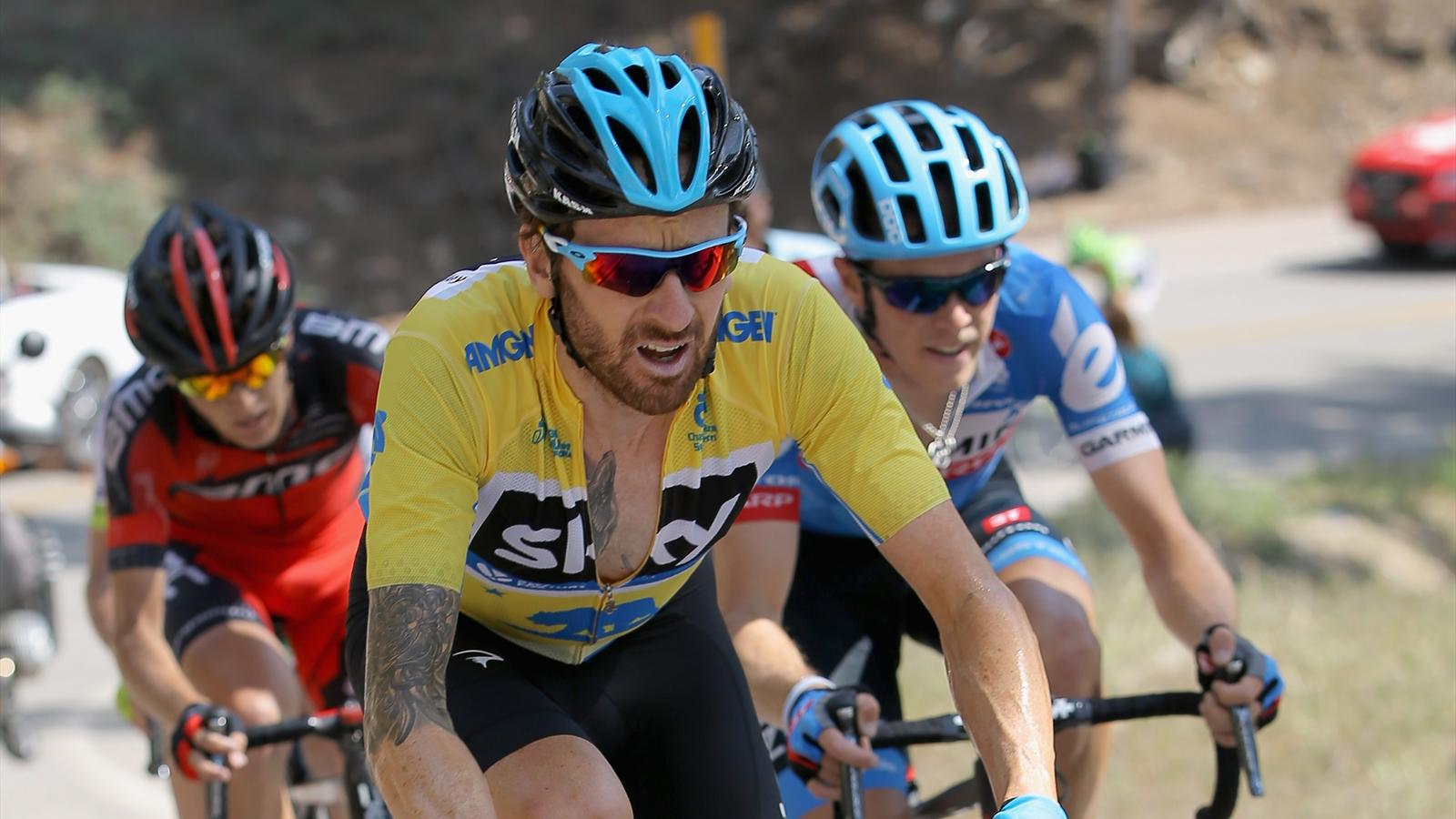 WRIGHTWOOD, CA - MAY 16: Sir Bradley Wiggins (C) of Great Britain riding for Team Sky defends the overall race leader's yellow jersey