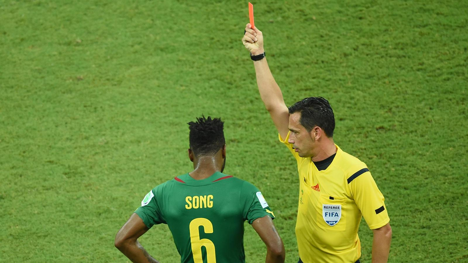 Alex Song gets his marching orders (AFP)
