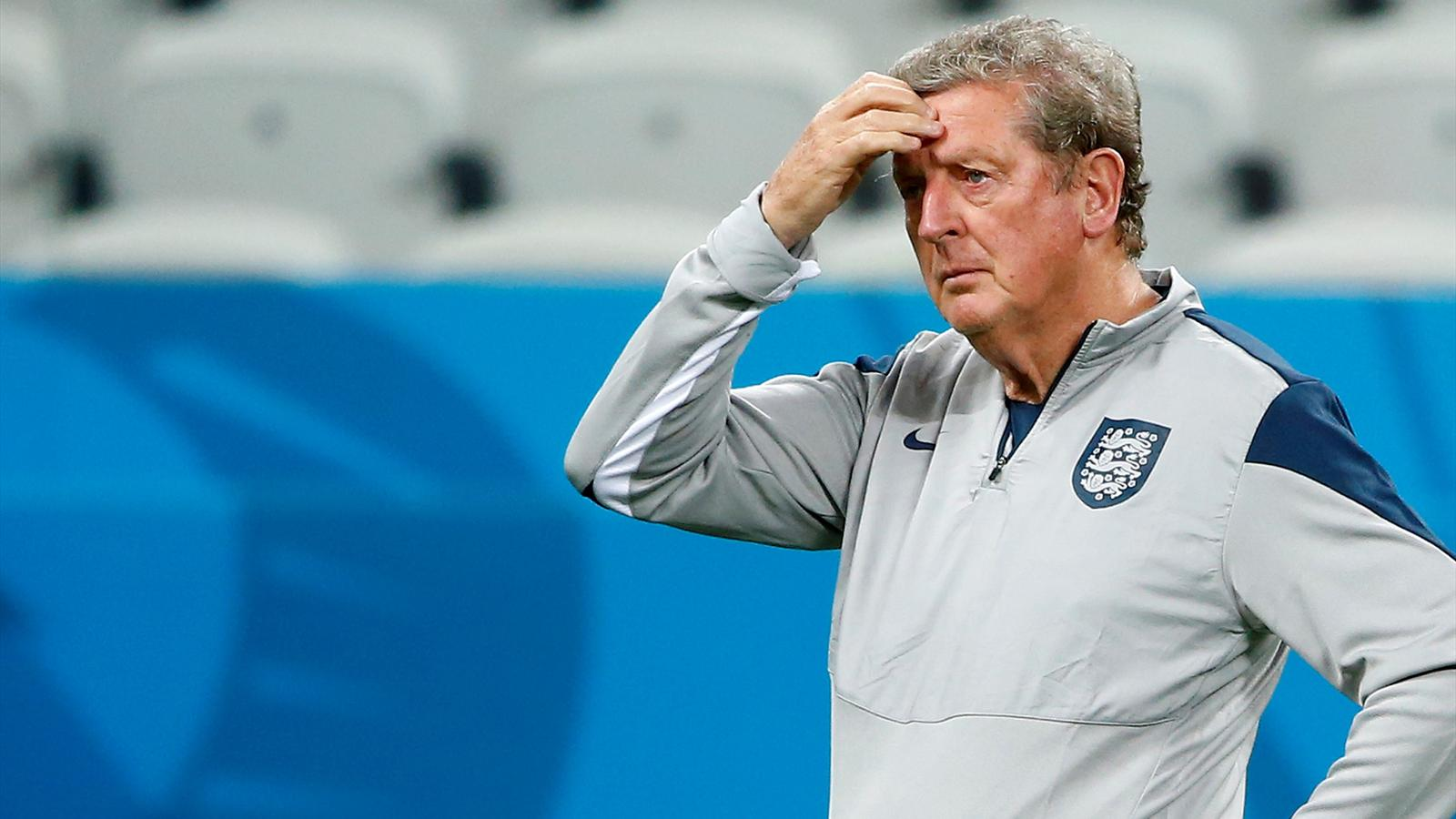 England's manager Roy Hodgson attends a training session at the Arena Corinthians stadium in Sao Paulo, June 18, 2014.