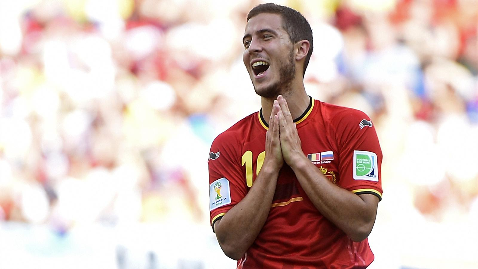 Belgium's midfielder Eden Hazard gestures during a Group H match between Belgium and Russia