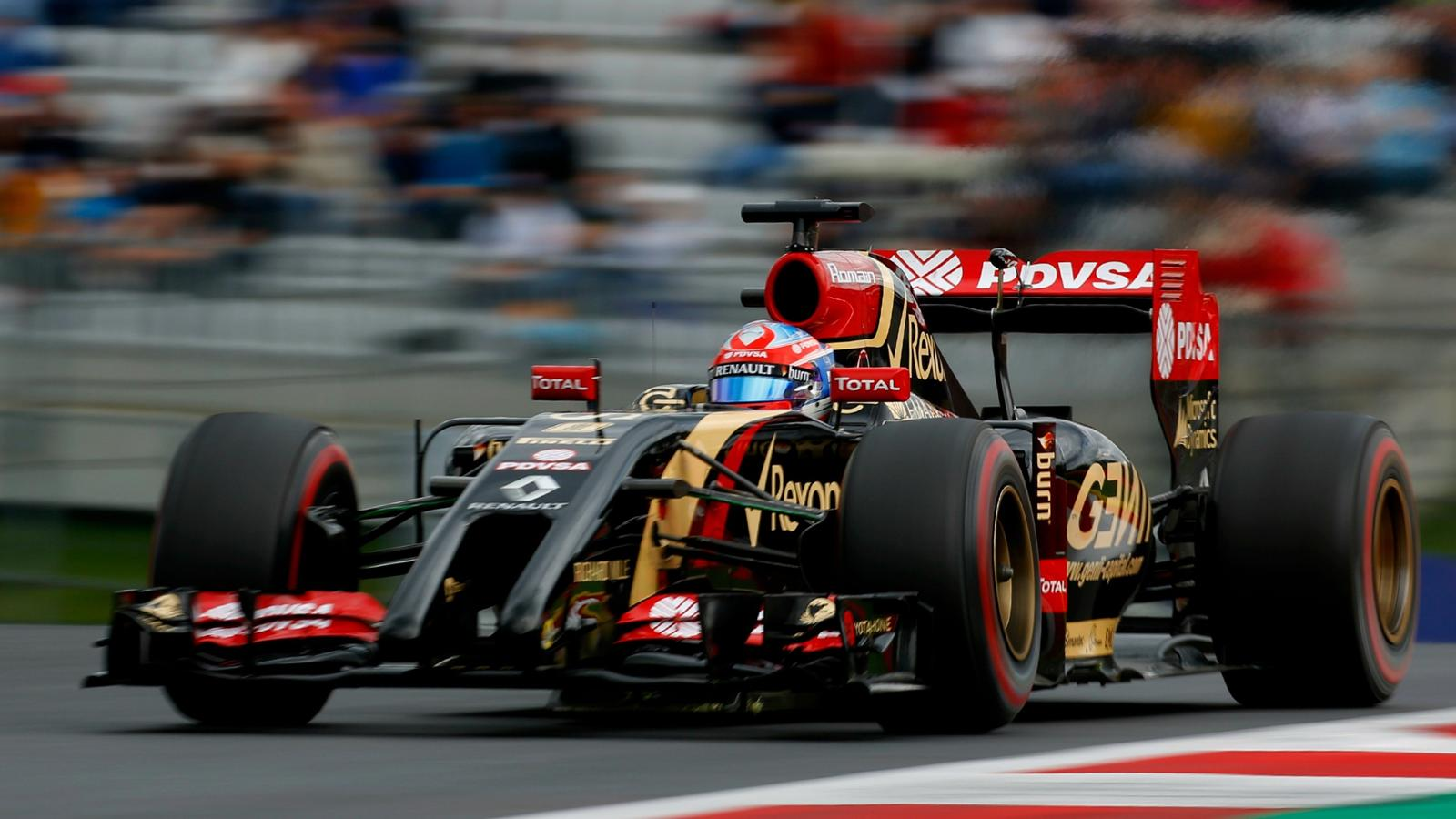 Romain Grosjean (Lotus) au Grand Prix d'Autriche 2014