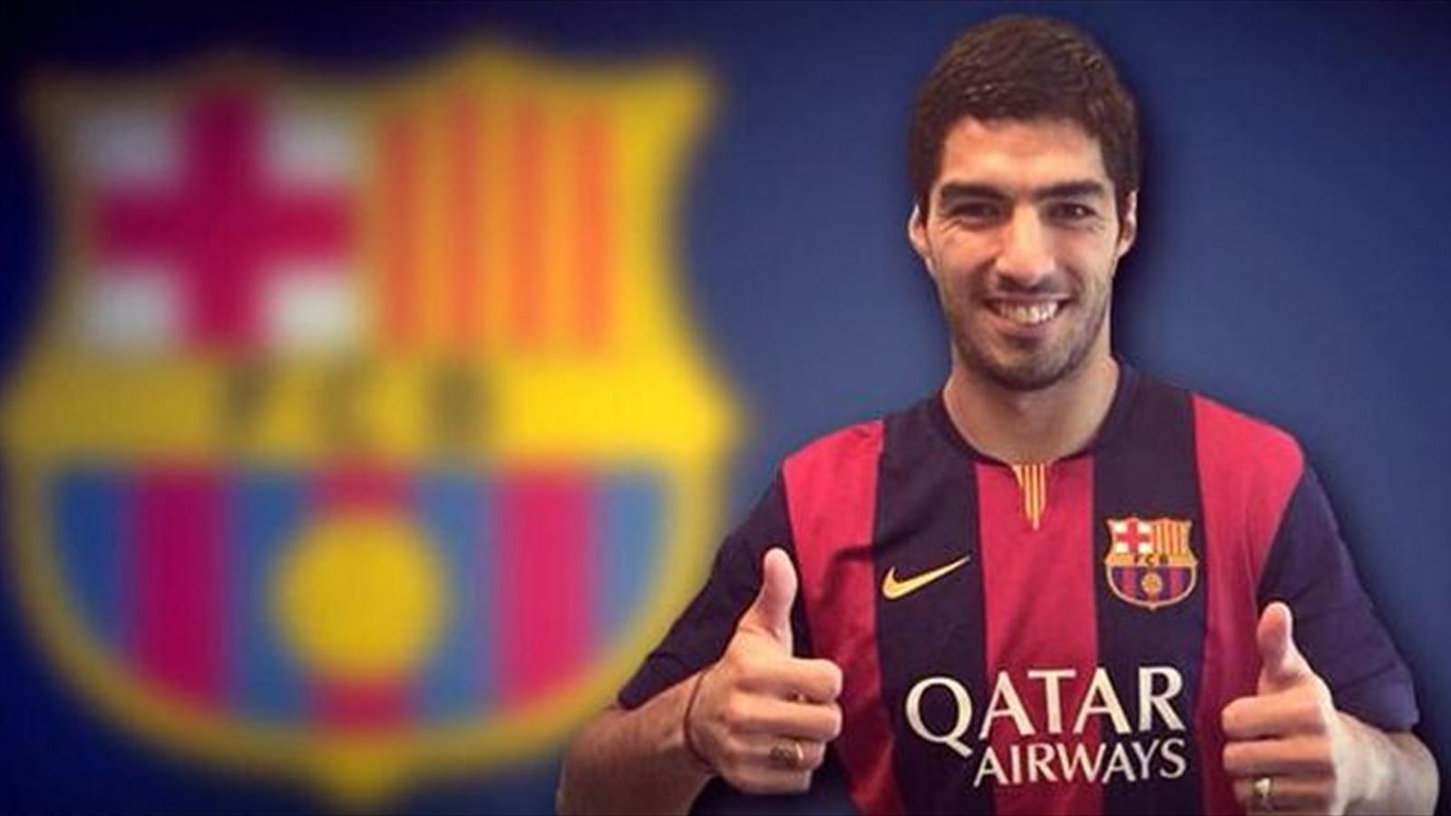 Barcelona released this picture of Luis Suarez in their colours