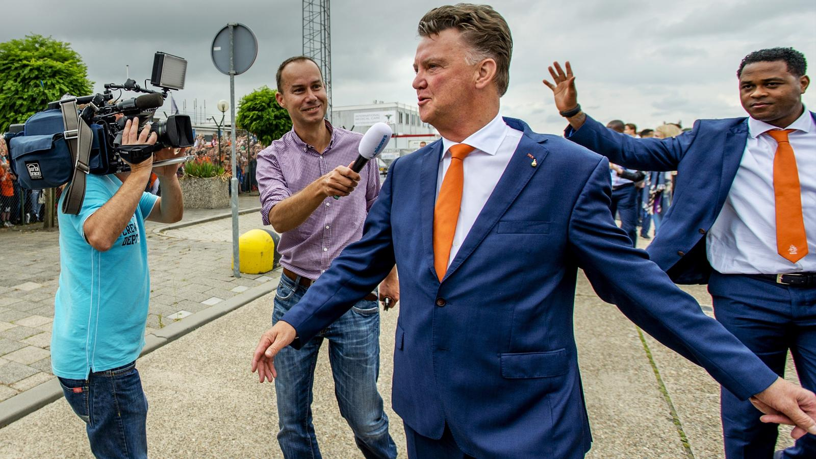 Netherlands football team head coach Louis van Gaal arrives at Rotterdam-The Hague airport, in Rotterdam, on July 13, 2014.