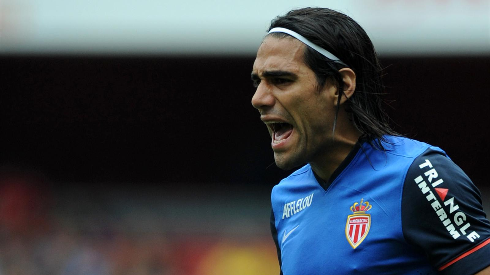 Monaco's Colombian forward Radamel Falcao reacts during the pre-season football friendly match between AS Monaco and Valencia