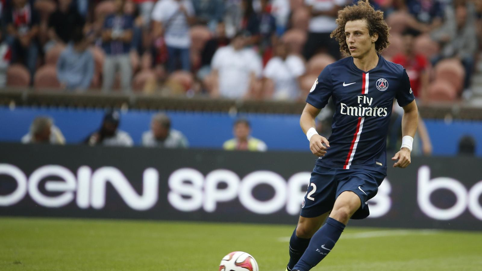 David Luiz lors de son premier match officiel avec le PSG, contre Bastia