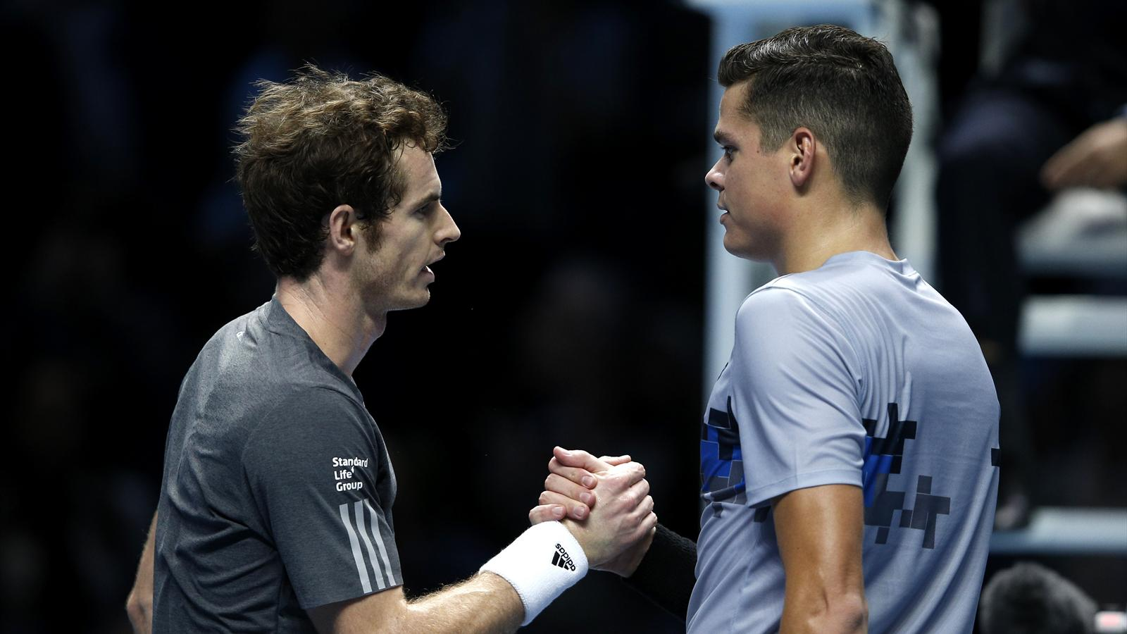 Andy Murray and Milos Raonic at the ATP World Tour final in London in 2014
