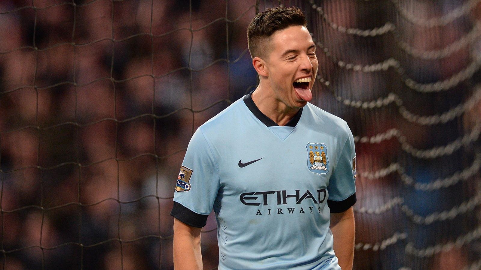 Samir Nasri after scoring against Newcastle (AFP)