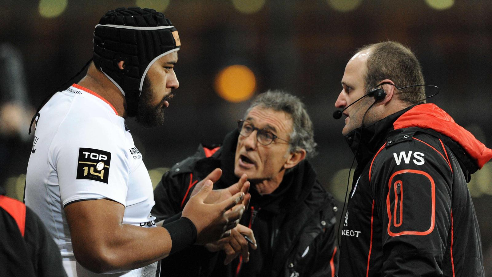 Edwin Maka, Guy Novès, William Servat. Oyonnax-Toulouse, 6 mars 2015