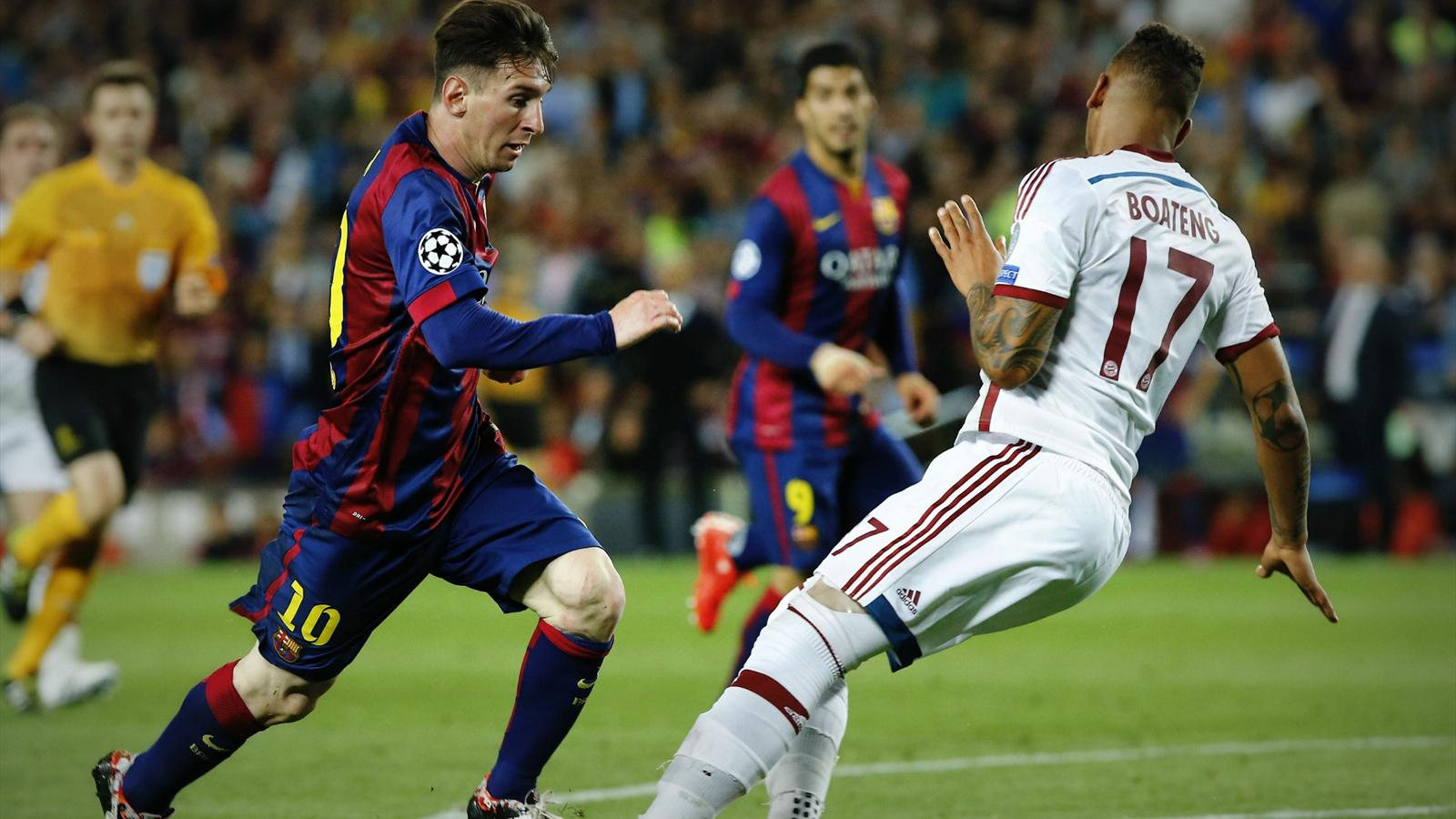 Lionel Messi surges past Jerome Boateng