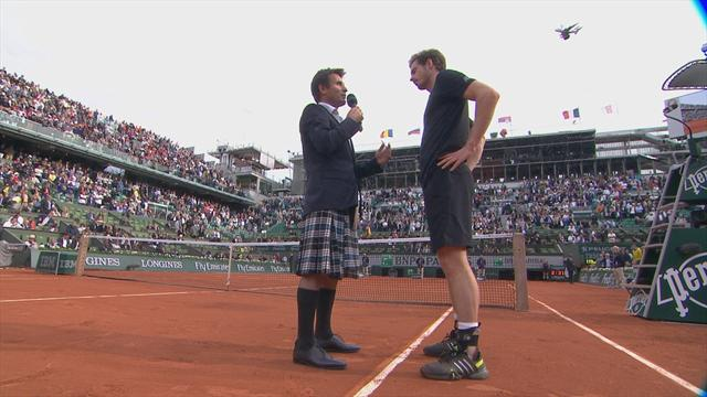 Andy Murray amused and bemused by interviewer Fabrice Santoro's outfit