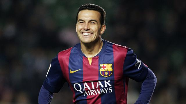 Barcelona's Pedro Rodriguez celebrates after he scored a goal against Elche