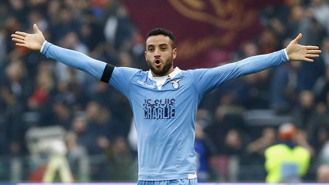 SS Lazio's Felipe Anderson celebrates after scoring against AS Roma during their Italian Serie A soccer match at the Olympic stadium in Rome January 11, 2015