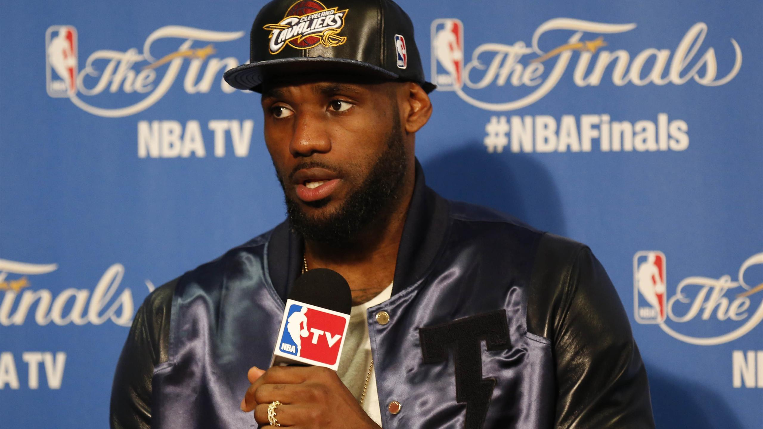 Cleveland Cavaliers forward LeBron James speaks to media following the 104-91 loss against the Golden State Warriors in game five of the NBA Finals