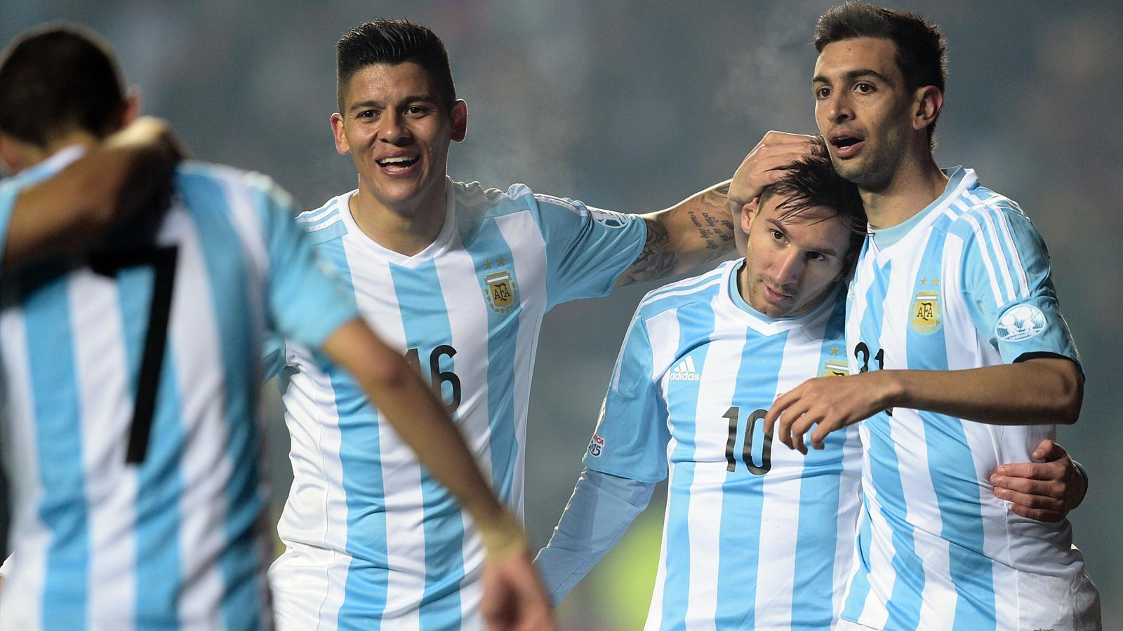 Lionel Messi and team-mates with Argentina at the Copa América