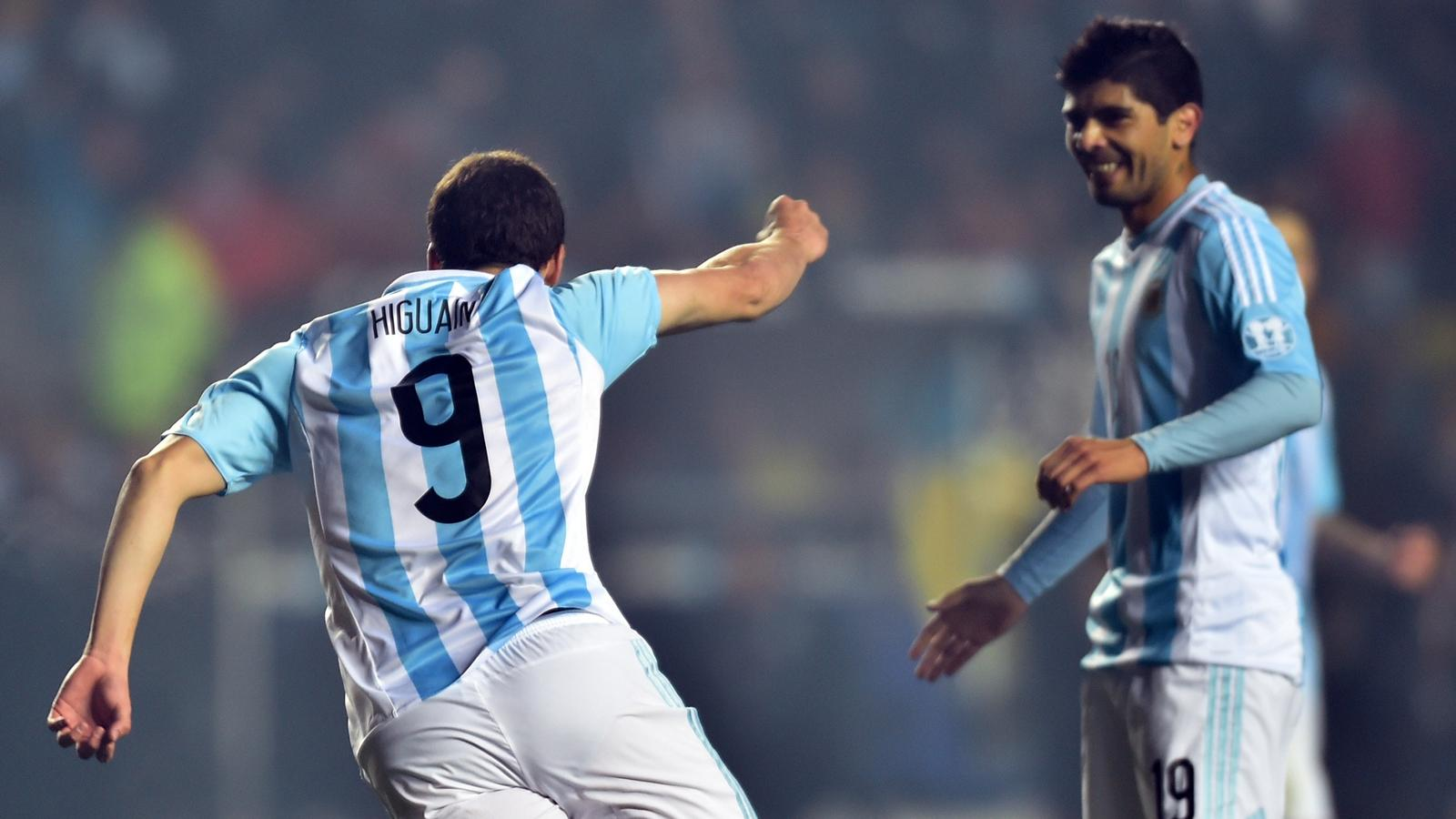 Gonzalo Higuain (Argentina) celebrates after scoring against Paraguay - Copa America on June 30, 2015