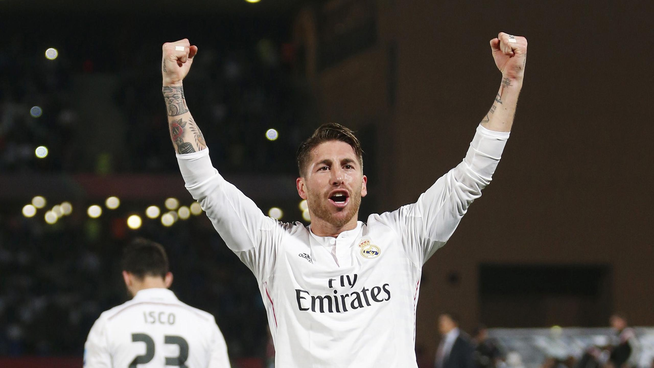 Sergio Ramos of Real Madrid celebrates after scoring against Mexico's Cruz Azul