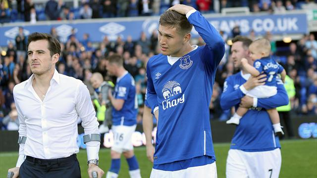 Everton's John Stones and Leighton Baimes at the end of the game agaimst Tottenham Hotspur