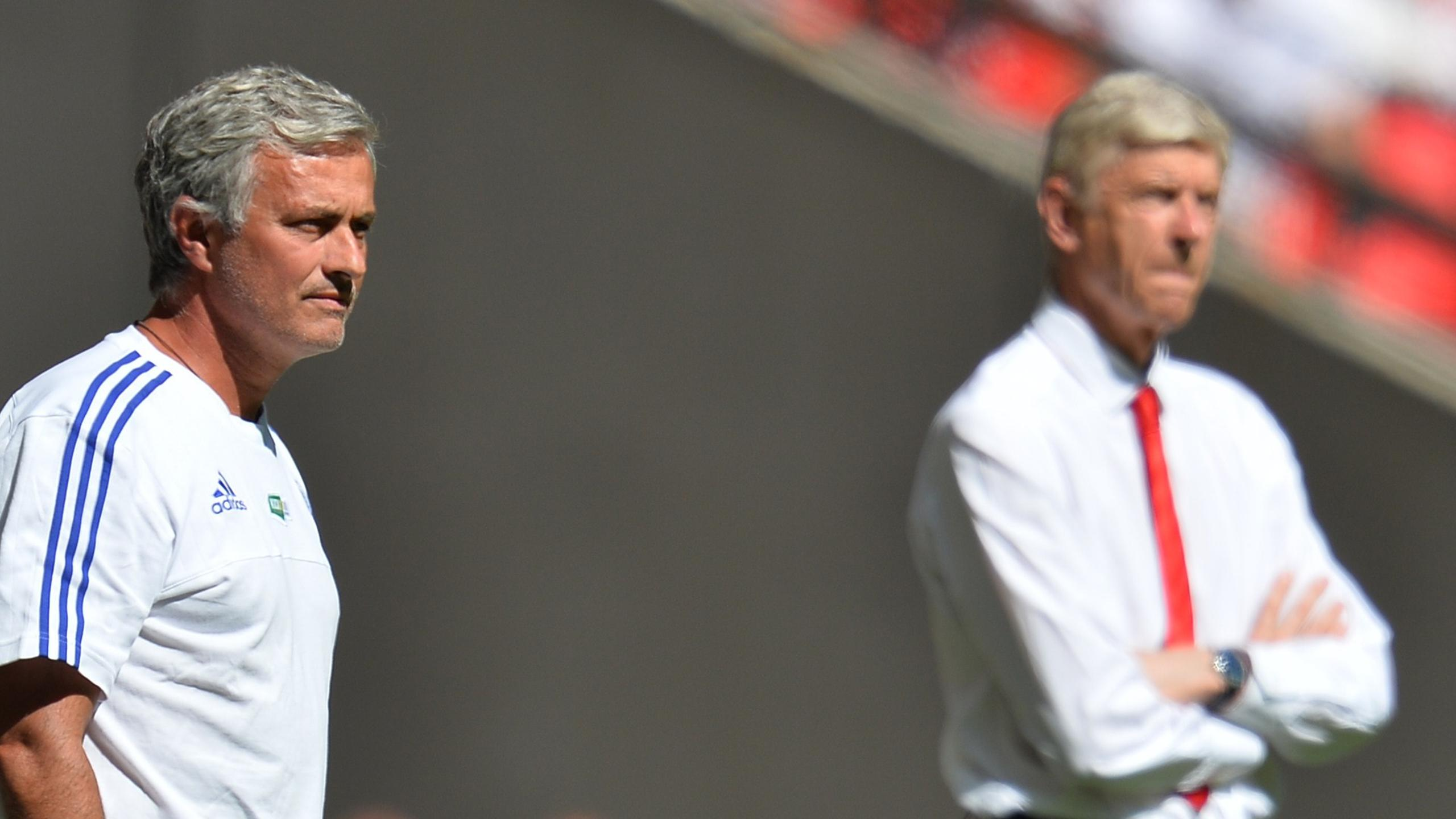 Jose Mourinho while at Chelsea (L) and Arsenal's French manager Arsene Wenger (R) watch from the side during the FA Community Shield football match between Arsenal and Chelsea at Wembley Stadium in north London on August 2, 2015