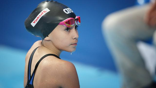 10-year-old girl Alzain Tareq takes part in Swimming World Championships