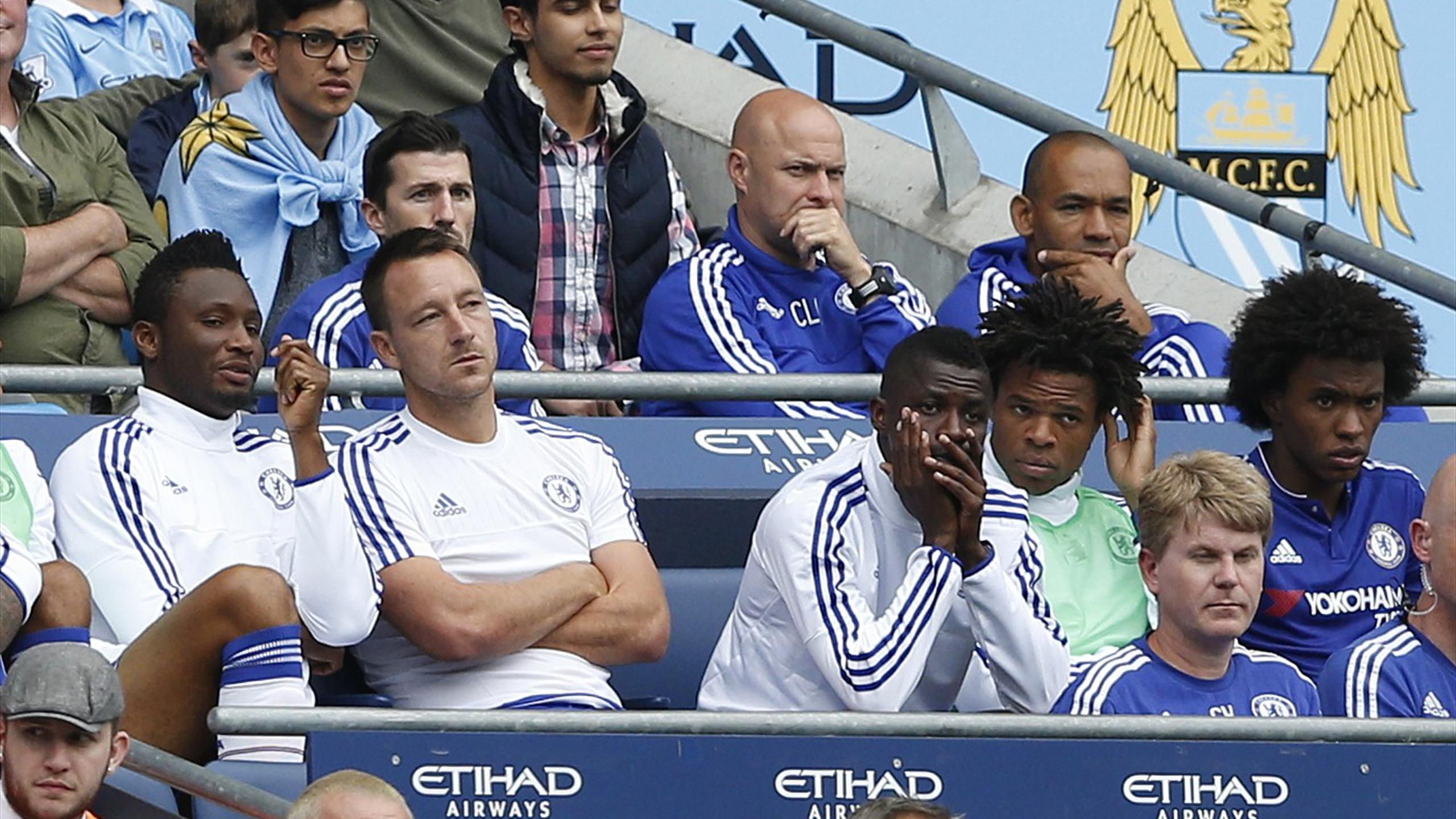 Chelsea's John Terry sat on the bench after being substituted at half time as John Obi Mikel, Ramires, Loic Remy and Willian look on