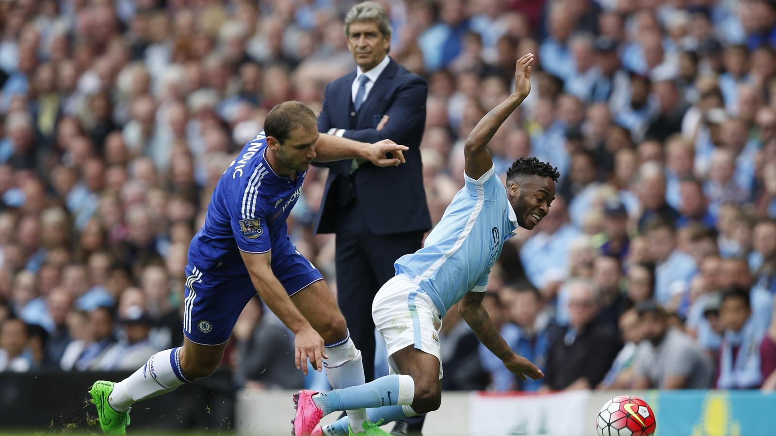 Chelsea's Branislav Ivanovic in action with Manchester City's Raheem Sterling watched by Manchester City manager Manuel Pellegrini