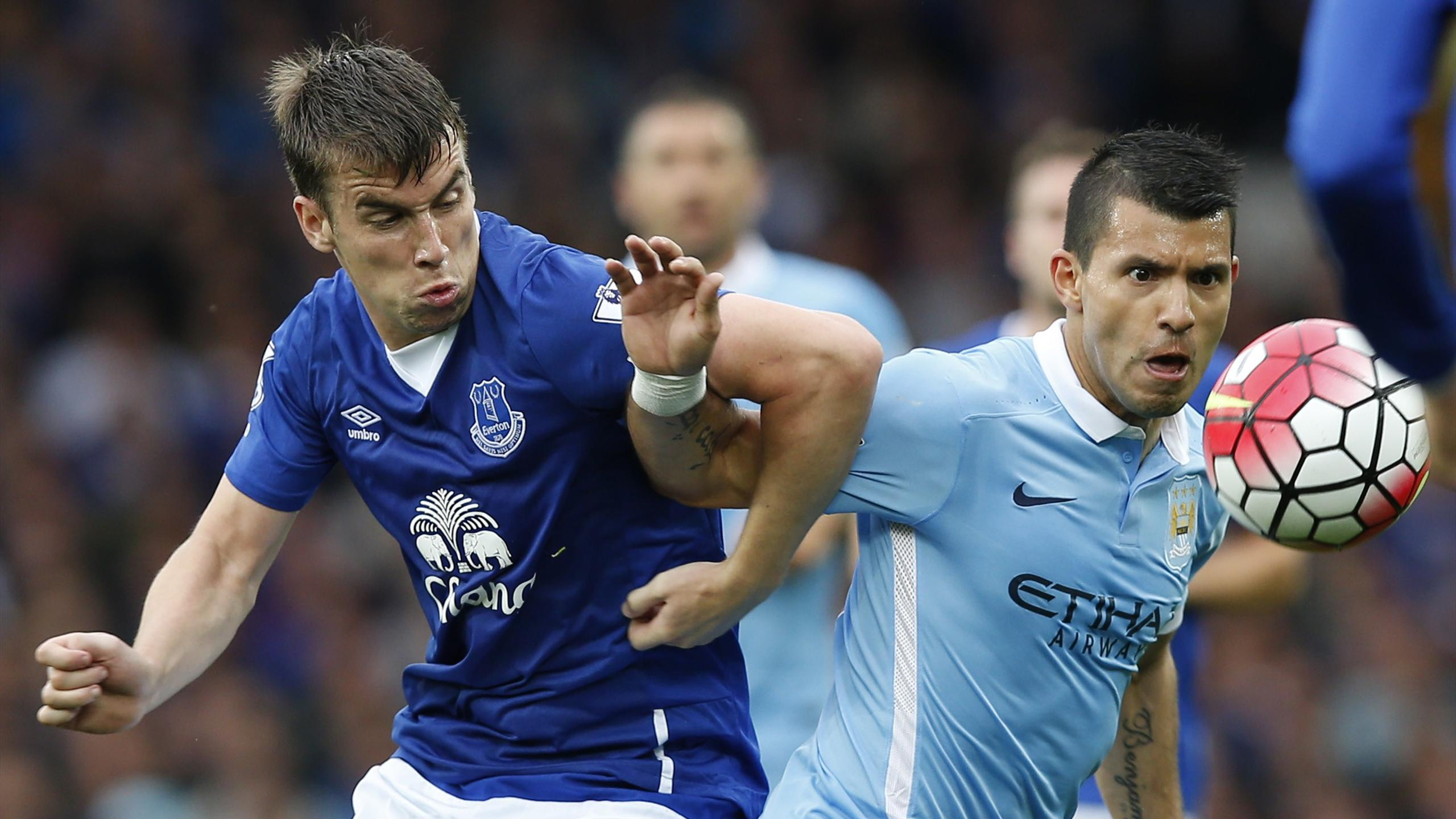 Manchester City's Sergio Aguero in action with Everton's Seamus Coleman